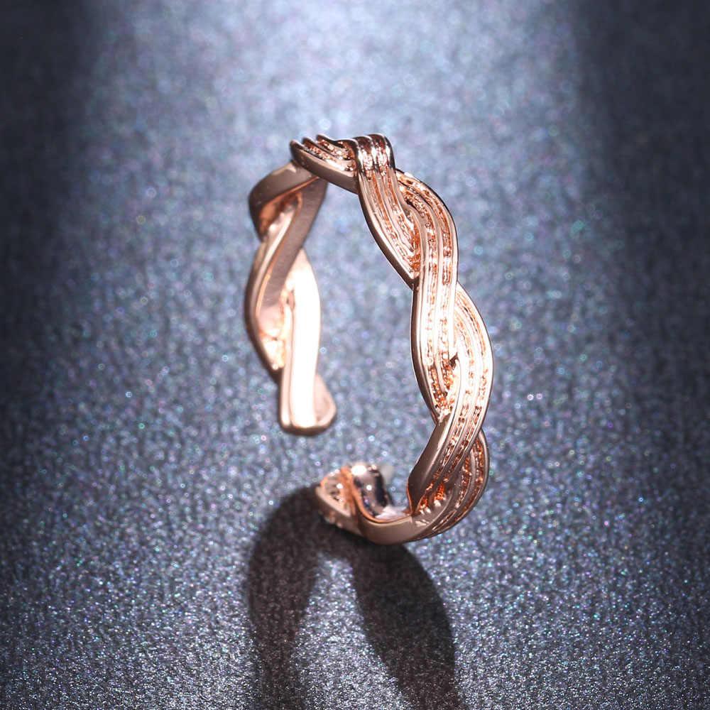 HONGHONG damski pierścień otwierający kreatywny pierścień w kształcie 8 modny pierścień pojedynczy damska biżuteria
