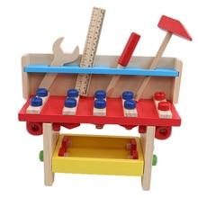 Деревянный Интеллектуальный набор инструментов, коробка для обслуживания, строительные инструменты, детские развивающие столярные Деревянные игрушки для детей, игрушки