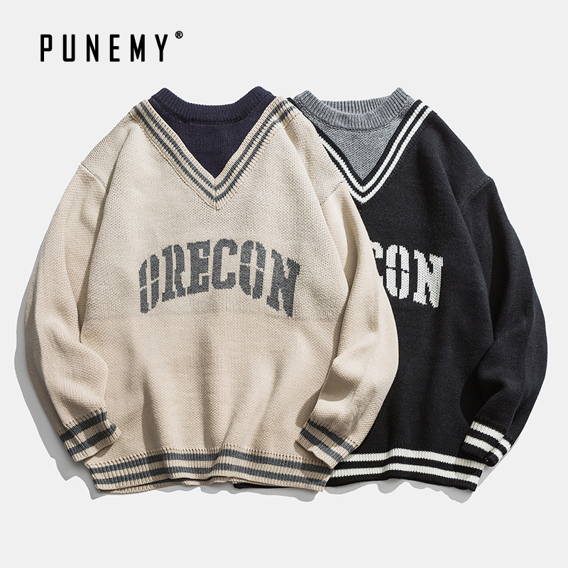 Retro Men Sweater V-neck Patchwork Letter Pattern Acrylic Oversize Hip Hop Streetwear Harajuku Autumn New Men's Pullover Sweater