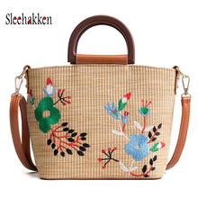 Straw bag female 2019 embroidered woven handbags fashion portable flowers shoulder diagonal beach vacation