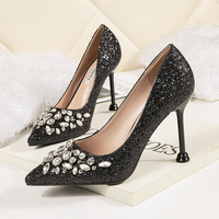 Glitter Pumps OL High heeled Rhinestone Shoes Women's Leather Shallow mouthed Cuboid Button Single Shoes