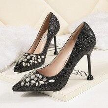 Glitter OL High-heeled Rhinestone Shoes