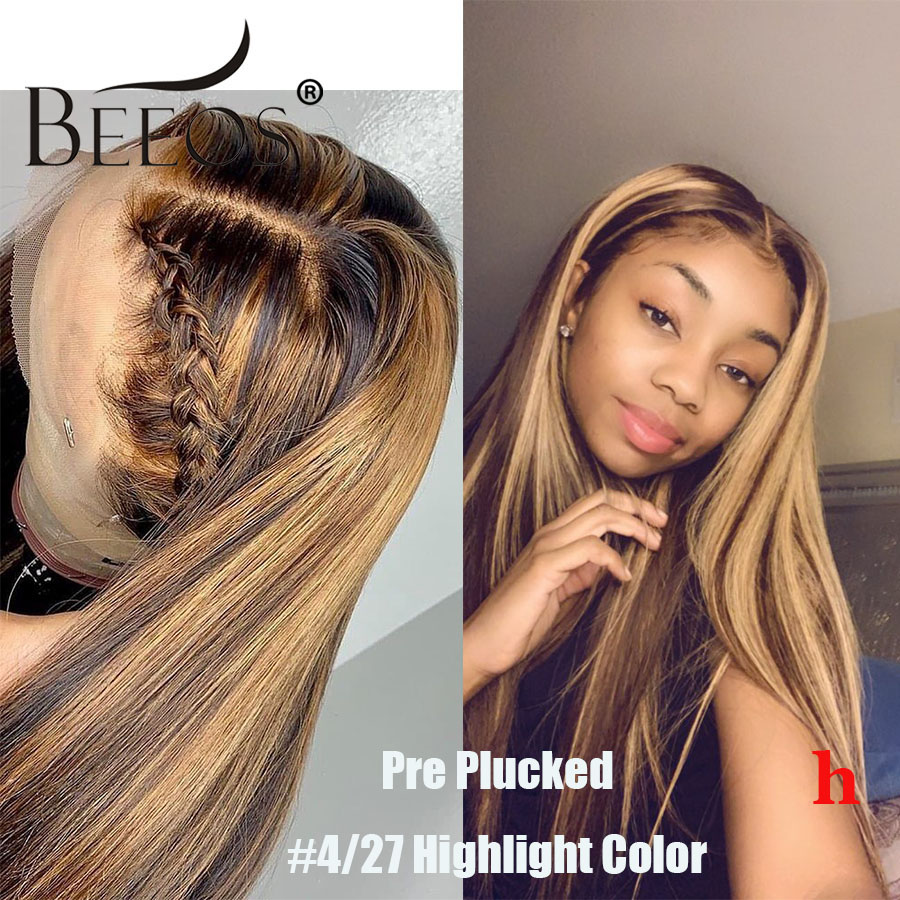 Beeos Highlight Colored 4/27 180% 360 Lace Front Human Hair Wig Straight PrePlucked Hair Line Bleached Knots Brazilian Remy Hair