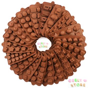 Nowa silikonowa forma na czekoladki 29 kształtów czekoladowe narzędzia do pieczenia nieprzywierające silikonowe formy do ciasta galaretka i forma do cukierków 3D Mold DIY best tanie i dobre opinie AILEHOPY Moulds CN (pochodzenie) CE UE Lfgb Przybory do ciasta Ekologiczne Z gumy silikonowej chocolate molds Chocolate brown
