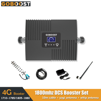 LTE 4G DCS 1800mhz Mini LCD Display Cellular Mobile Phone Signal Booster Repeater Amplifier Network Yagi+Whip Antenna+10M Cable