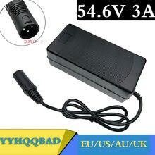 54.6V Carregador 54.6v 3A 3A bicicleta elétrica carregador de bateria de lítio para 48V bateria de lítio Plugue XLR 54.6V3A carregador