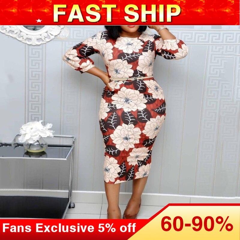 Elegant Women Floral Printed Dress Summer African 2020 Office Lady Workwear Pencil Midi Dresses Robe Femme Vestiods Vintage