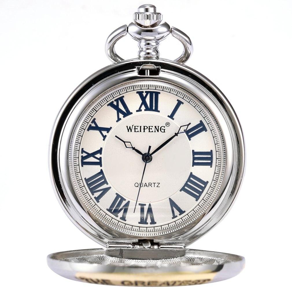 Fashion Silver Greatest Grandpa Blue Rome Roman Number White Pendant Men Lady Quartz Pocket Watch Jewelry Festival Gift /WPK064