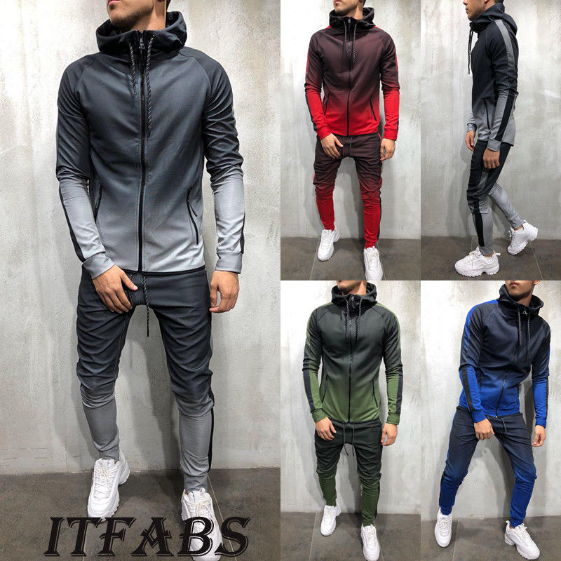 New Arrival Spring Autumn Casual Mens Set High Collar 2Pcs  Sportswear Hoodies Sweatshirt Pants Suit Plus Size M-3XL