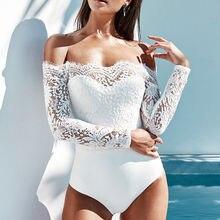 Goocheer summer New white Lace Jumpsuit Bodysuits Women Sexy Elegant playsuit Off Shoulder Overalls Long Sleeve Femme Romper