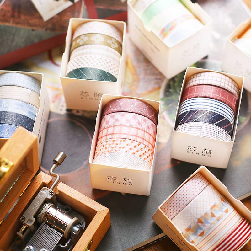 5 יח'\סט יפנית נייר DIY מתכנן מיסוך קלטת דבק קלטות מדבקות דקורטיבי מכתבים קלטות