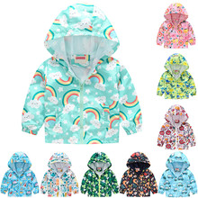 Autumn Winter Clothes Baby Coat Fashion Cartoon Print Zipper Hooded Windproof Toddler Kids Outwear Baby Girl Baby Boy Jacket
