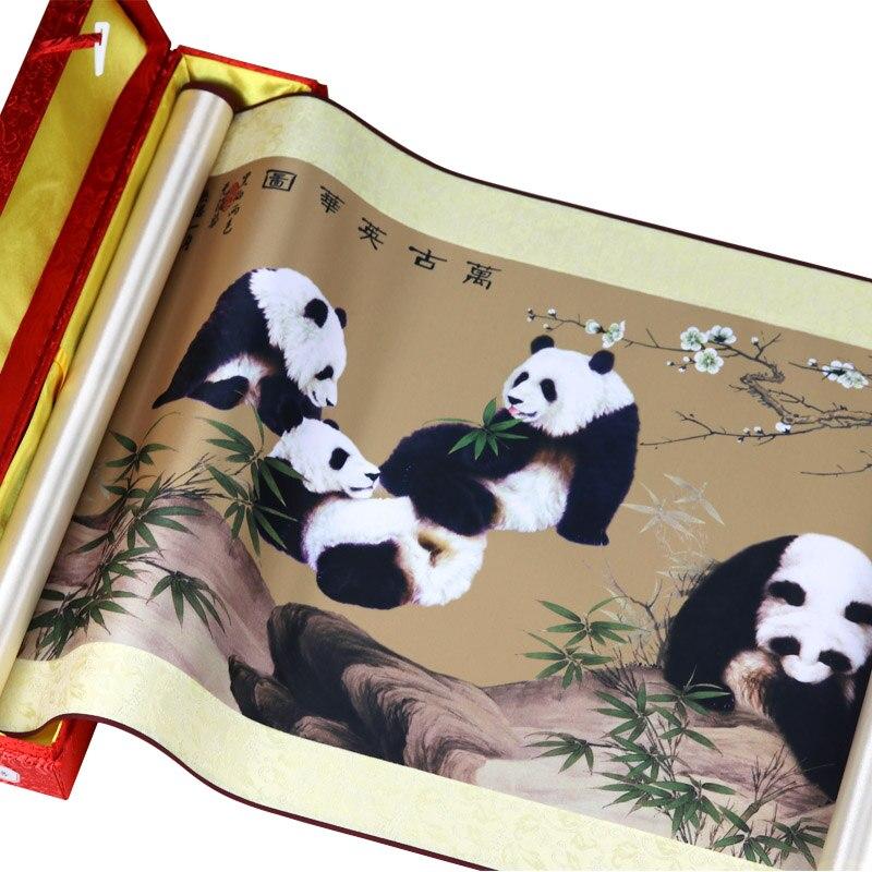 Panda Полный настенные картины китайский Unitque ремесла подарок шелковая Живопись прокрутки картина домашнее украшение холст печать картина ма...