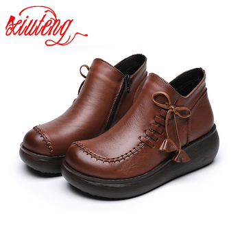 Xiuteng  Women Shoes 2020 New Genuine Leather Casual Breathable Fashion Waterproof Flat Platform Sneaker