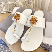 Sun flower Women Summer Slippers Women Shoes High Quality Leather Square Toe Ladies Slides Outside Womens Slippers Flats Sandals 2017 women slides fashion crystal flower flats slippers women red black white summer outside shoes women appliques slippers lady