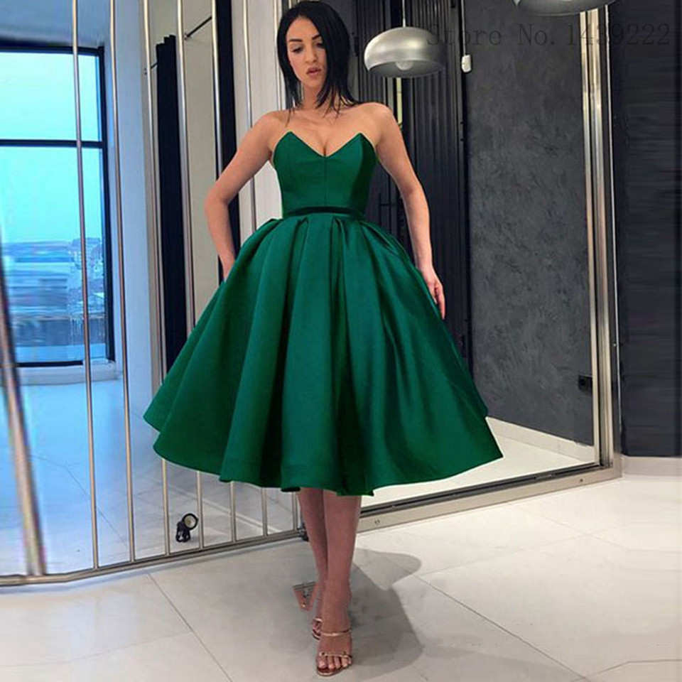 Green Graduation Cocktail Dresses 2021 Elegant Satin Ball Gown Homecoming Vestidos De Gala Women Party Night Short Prom Dress