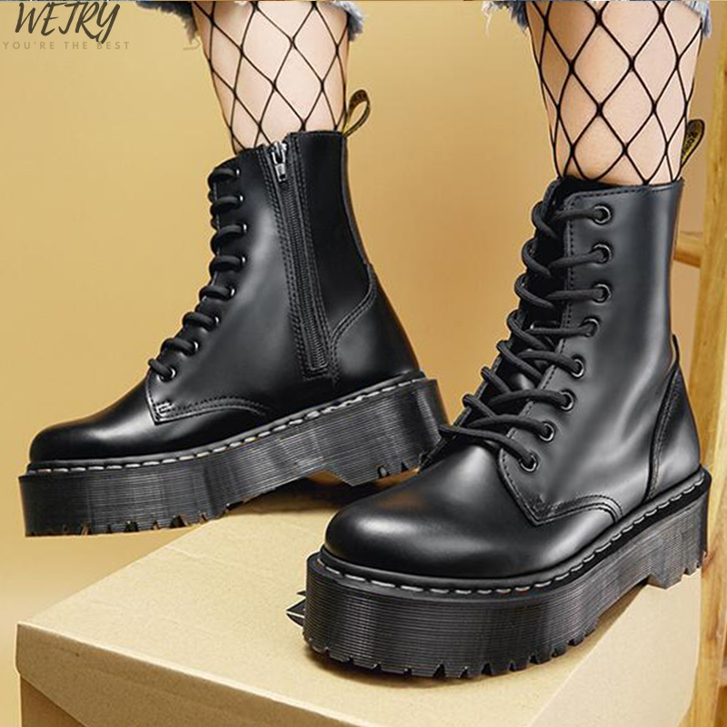 2020 Black Martin Boots Genuine Leather Boots For Women Ankle Boots Punk Dr Motorcycle Shoes Thick Heel Platform Winter Shoes