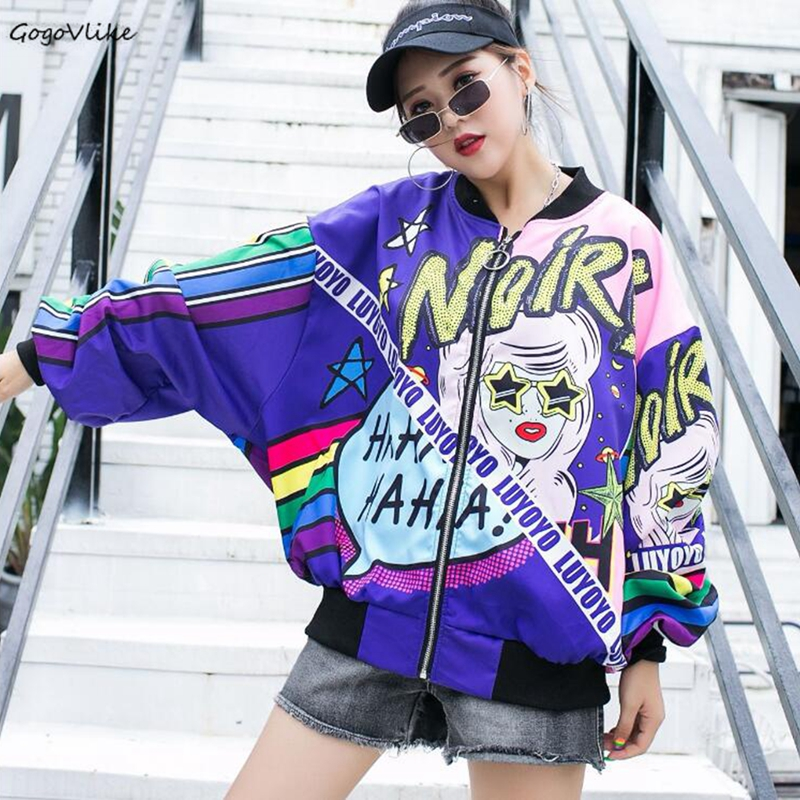 Harajuku Cartoon   basic     jacket   coat Autumn 2019 street Sequined Letter bomber   jacket   Women Casual baseball   jackets   LT008S30