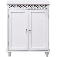 Branco de madeira 2 porta armário de armazenamento de piso armário resistente à água mdf placa uv pintura armários de banheiro móveis hw55974| |   -