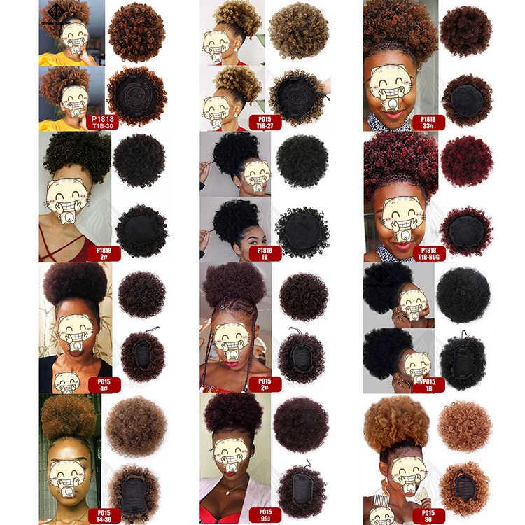 Primavera sunshine Cola de Caballo Puff Pelo Rizado Afro moño alto cordón Afro corto Pony Clip en sintético