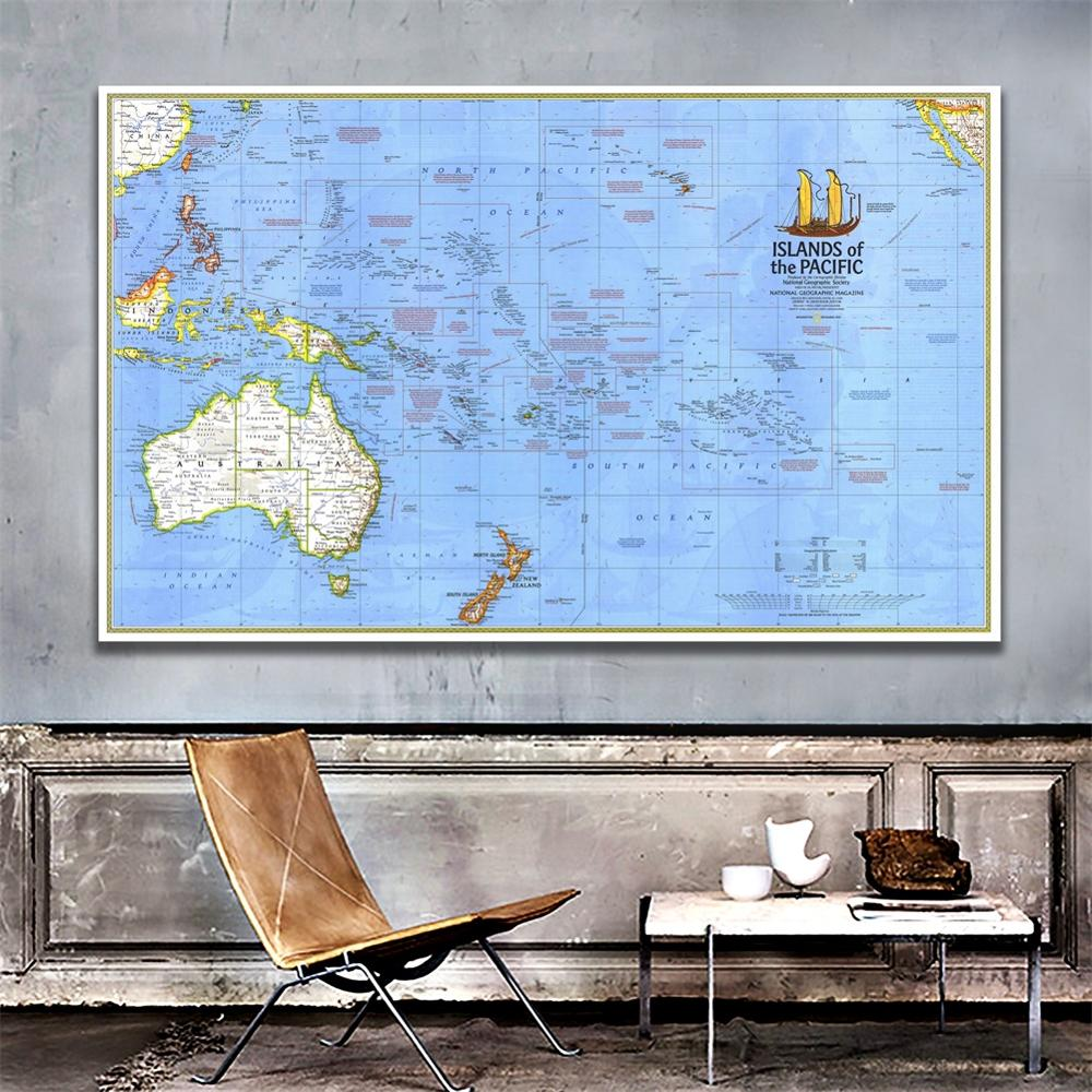 150x225cm Islands Of The Pacific HD Vinyl Spray Painting Waterproof Non-woven Decor Map For Bedroom Wall Decoration