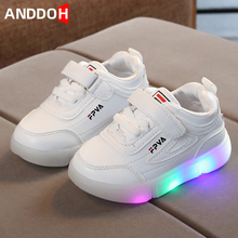 Size 21-30 Children #8217 s Shoes Sneakers with Luminous Sole Running Baby Shoes with Lights Children Led Luminous Sneakers for Baby cheap ANDDOH 4-6y 7-12y 12+y CN(Origin) Four Seasons unisex Rubber Fits true to size take your normal size Hook Loop Solid