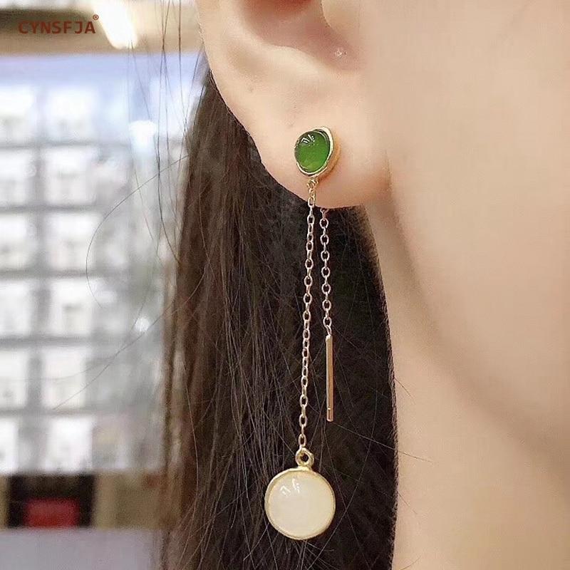 CYNSFJA Real Certified Natural Hetian Jade Jasper 925 Sterling Silver Fine Jewelry Green Jade Earrings High Quality Best Gifts