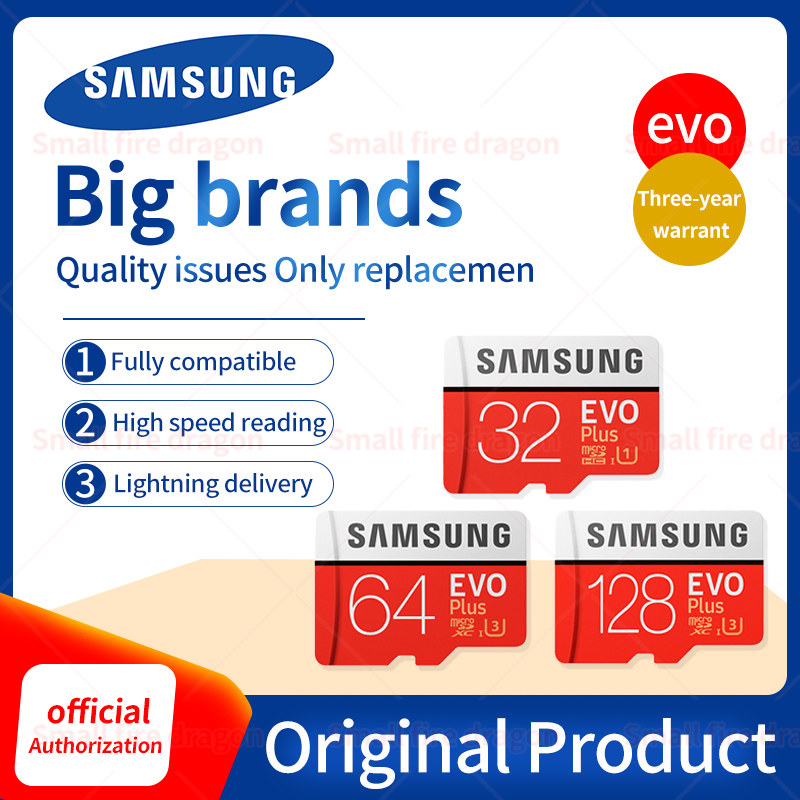 Original SAMSUNG Grade EVO+ Class 10 Memory Card 32GB 64GB 128GB Micro SD Card SDHC SDXC Class 10 UHS TF Card Trans Flash