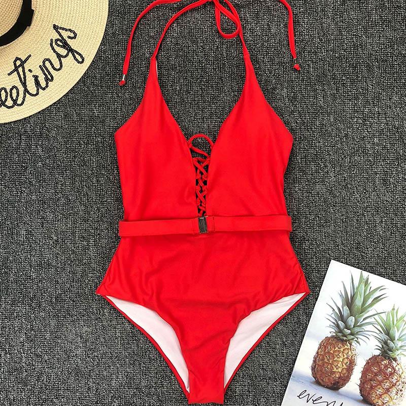 Одноцветный купальный костюм с бретельками, модель 2020 года, сексуальный купальник для женщин, с поясом, с высокой посадкой, пляжная одежда, u-... 63