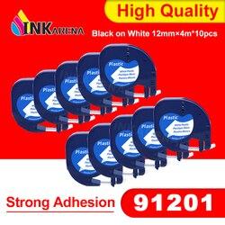 Wymiana Inkarena etykiety drukarki dla dymo 91201 czarny na białym etykiety taśmy 12mm silna przyczepność do maszyn do pisania i maszyna do LT-100 10 sztuk