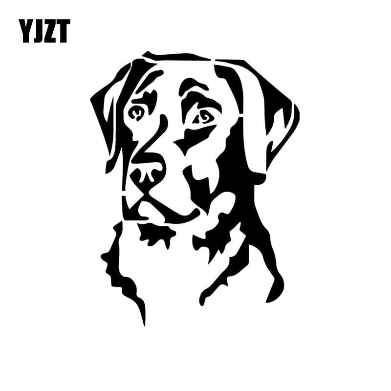 YJZT 11.6X15.3CM Car Sticker Labrador Retriever Head Vinyl Decal Window Bumper Dog Pet Black/Silver C24-1182