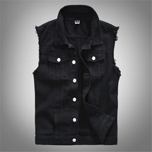 2019 Mens vest new fashion casual denim jacket sleeveless black top Y813