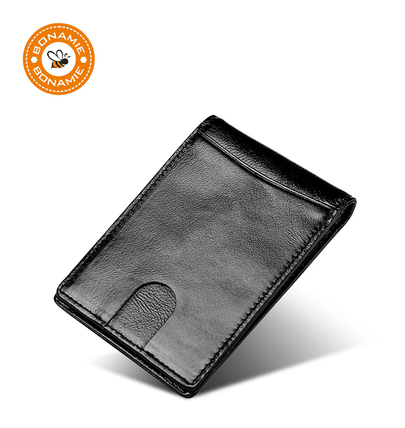 BONAMIE Cowhide Money Clip For Men Short RFID Wallet Slim Male Card Organizer Mens Man Genuine Leather Bifold Credit Card Wallet
