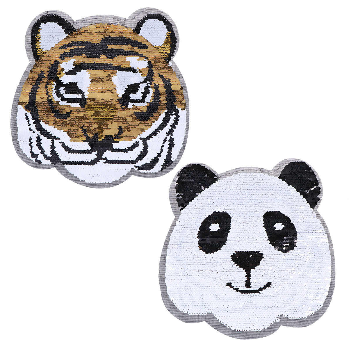Clothes Patches Cartoon Panda Embroidery Patches Sequined Patches for Jackets Backpacks DIY Applique On Clothes Stickers
