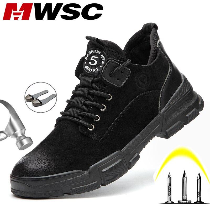 MWSC рабочая обувь из коровьей кожи; мужские ботинки; неубиваемая обувь со стальным носком; мужские уличные строительные ботинки для безопасн...