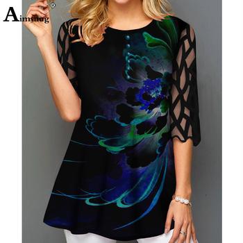 O-neck Hollow out Sleeve topy koszulka jednorzędowa Plus rozmiar koszulka damska Loose Ladies5x 2020 WomenPrint Button Blue tanie i dobre opinie Aimsnug Poliester Tees Trzy czwarte REGULAR Suknem Drukuj K8-5 Długi Na co dzień
