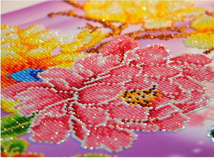 Menjahit Diamond Lukisan Bunga Peony Seri Cross Stitch 5D DIY Diamond Bordir Rumah Tangga Gambar Perhiasan