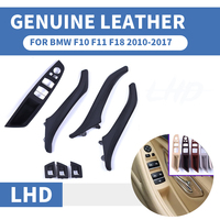 Genuine Leather Left Hand Drive LHD For BMW 5 series F10 F11 F18 Black Car Interior Door Handle Inner Panel Pull Trim Cover Arm