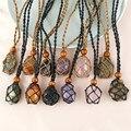 Лабрадорит ожерелье из природного камня кулон с запахом плетеные бусы ожерелье в стиле «макраме» для мужчин и женщин ожерелье с положитель...