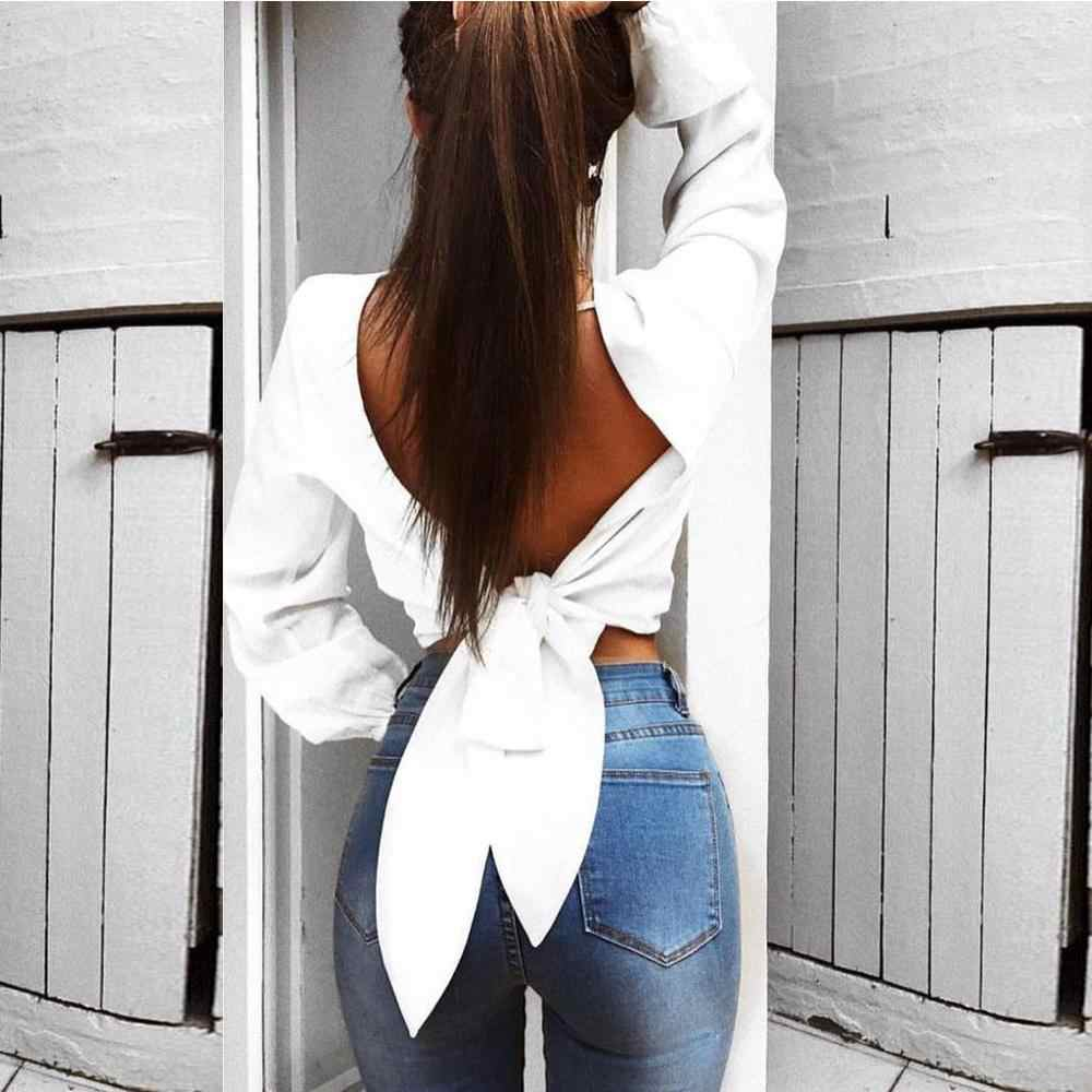 Women blouse Fashion Sexy Solid Hollow Out Tops Long Sleeve Backless Bow Knot Blouse blusas Backless mujer de moda 2019 BB3M