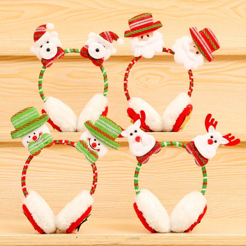 Kid Adult Winter Christmas Santa Claus Double Doll Earmuff Warmer Headband Clasp 634D