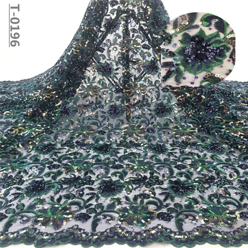 African Sequins Lace Fabric 2019 High Quality Lace French Tulle Lace Material Colorful Nigerian Lace Fabrics For Wedding