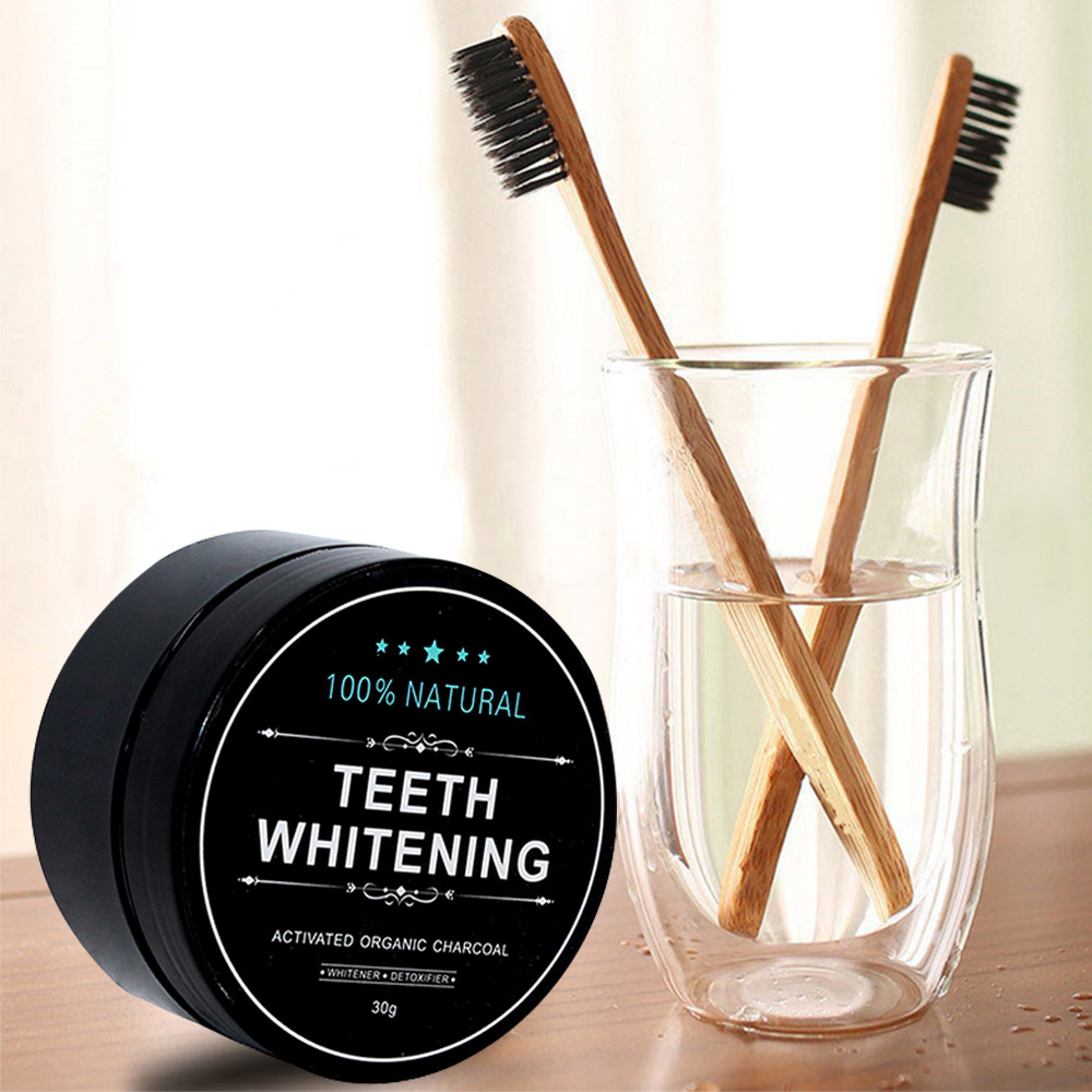 Dropshipping Teeth Whitening Oral Care Tooth Brush and Tooth Powder Natural Activated Charcoal 30g Oral Hygiene(China)