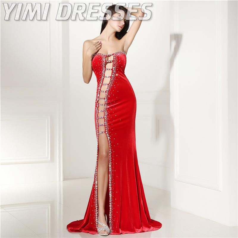 Sexy corte vermelho veludo vestidos de noite longo beading sereia baile de formatura vestidos de festa plus size formal vestido feminino elegante vestidos de gala - 6