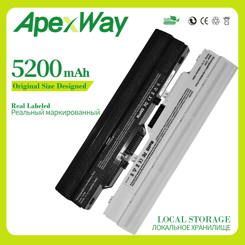 Apexway 5200mAh 11.1v  Laptop Battery BTY-S11 BTY-S12 For Msi Wind U90 U100 U100X U210 For LG X110 For Akoya Mini E1210
