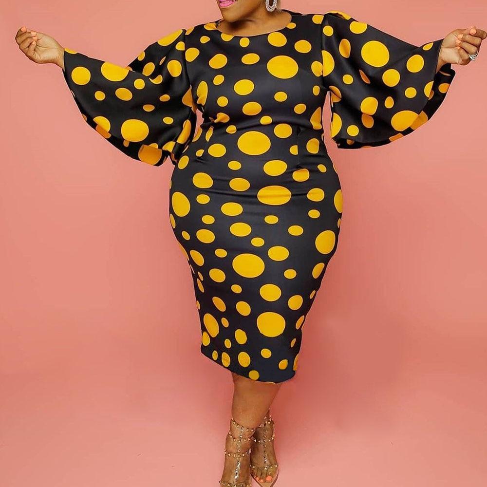 Modern yellow polka dot Dress