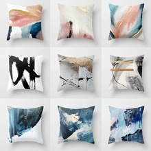New Style Abstract Oil Painting Series Pillow Cover White Linen Printed Pillows Cushion Customizable Wholesale