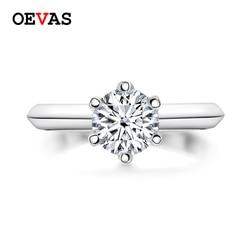 OEVAS Sparkling 2 karaty prawdziwe obrączki Moissanite dla kobiet 18K białe złoto kolor 100% 925 srebro Fine Jewelry prezent