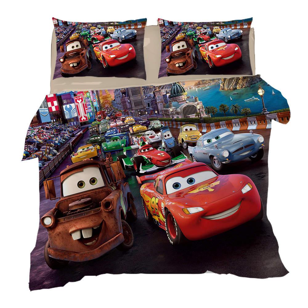 3D Bedding Twin Size Quilt Duvet Covers Set Disney McQueen Car Print Bed Linen Queen Coverlets Kids Children's Bedroom 3 Pcs Hot