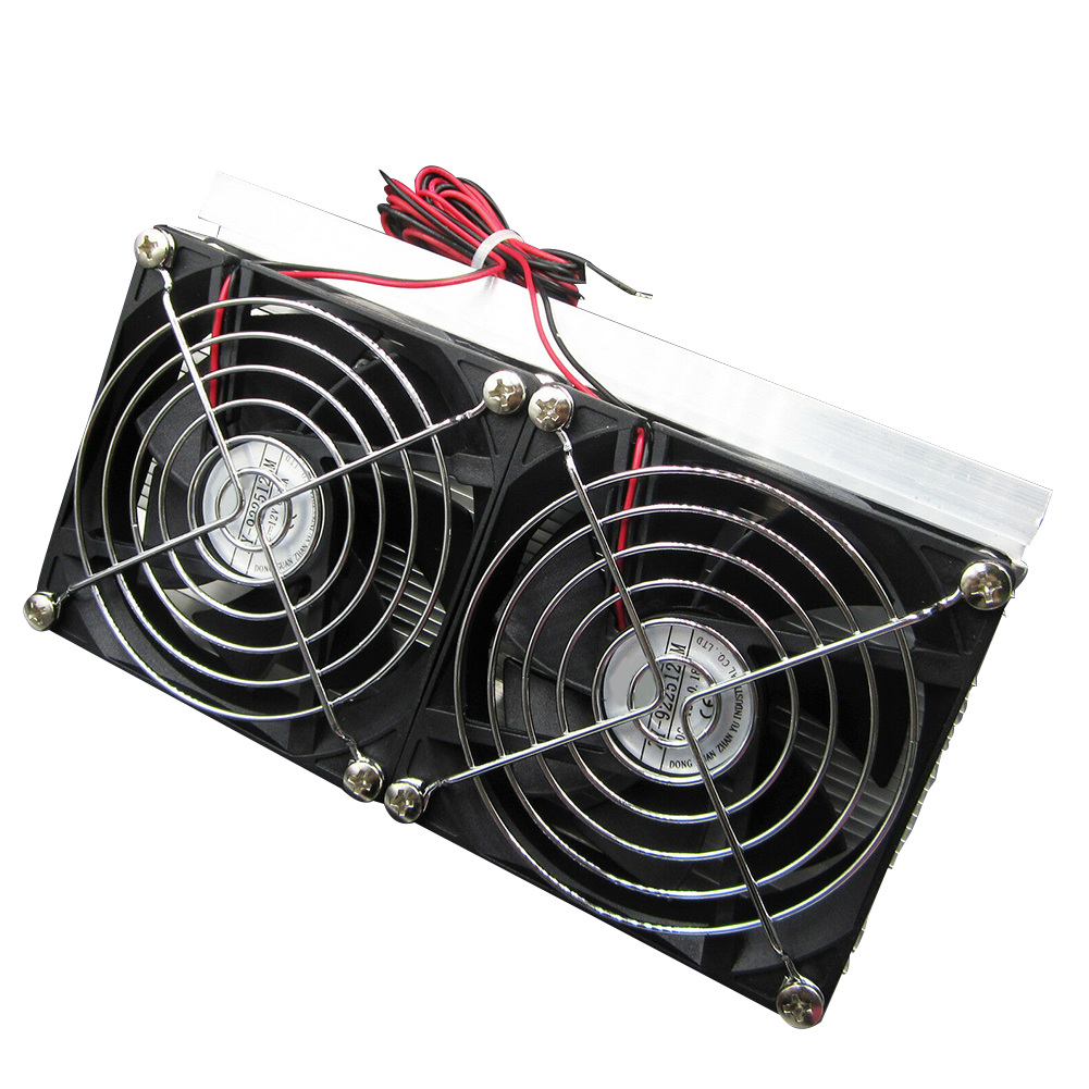 Double Fan Radiator DIY Peltier Refrigeration Industry Integrated Circuit Semiconductor Cooling System Kit Cold Conduction Metal